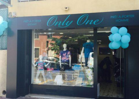 Habillage façade et enseigne magasin Only One à Mandelieu